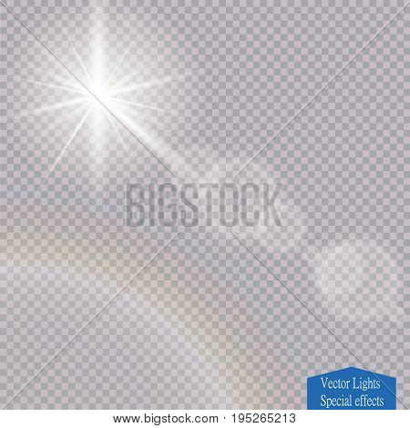 Vector transparent sunlight special lens flare light effect. Sun flash with rays and spotlight Vector