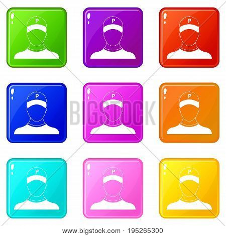 Parking attendant icons of 9 color set isolated vector illustration