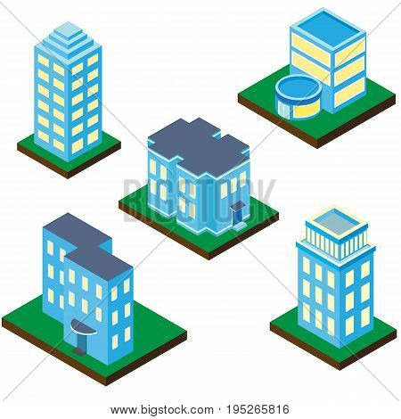 Collection of buildings and houses in an isometric projection. The vector 3D picture isolated on a white background.