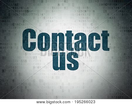Marketing concept: Painted blue word Contact Us on Digital Data Paper background