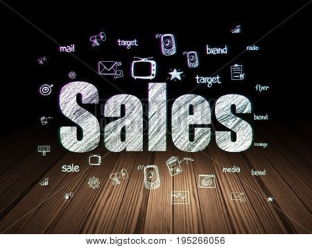 Advertising concept: Glowing text Sales,  Hand Drawn Marketing Icons in grunge dark room with Wooden Floor, black background