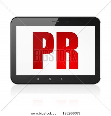 Advertising concept: Tablet Computer with  red text PR on display,  Tag Cloud background, 3D rendering