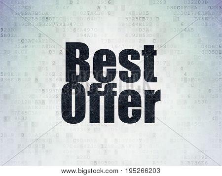 Marketing concept: Painted black word Best Offer on Digital Data Paper background