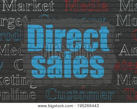 Advertising concept: Painted blue text Direct Sales on Black Brick wall background with  Tag Cloud