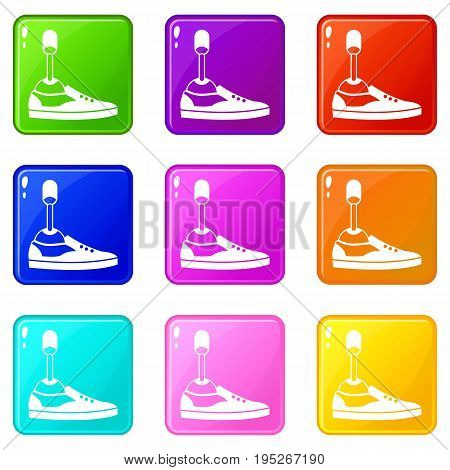 Prosthetic leg icons of 9 color set isolated vector illustration