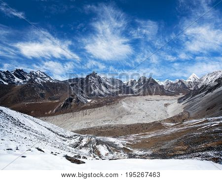 Panorama of Himalayan mountain landscape in Sagarmatha National Park - view from Chhukhung Ri in Everest Region, Nepal Himalaya