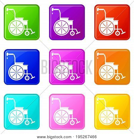 Wheelchair icons of 9 color set isolated vector illustration