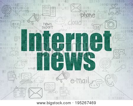 News concept: Painted green text Internet News on Digital Data Paper background with  Scheme Of Hand Drawn News Icons