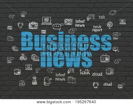 News concept: Painted blue text Business News on Black Brick wall background with  Hand Drawn News Icons