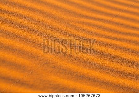 Sand dunes in desert close up abstract background