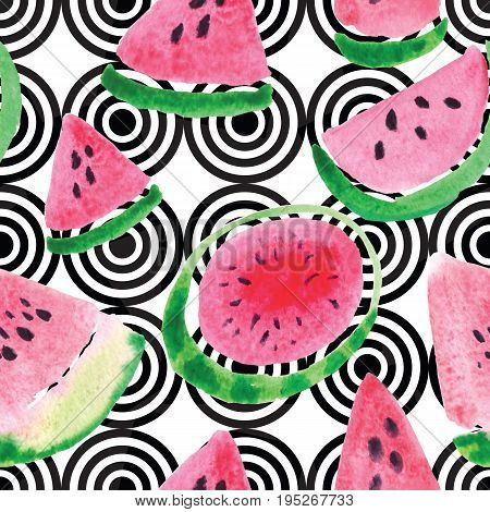 Seamless pattern from the juicy lobes of watermelons. Modern background with watercolor red slices and green round watermelons.
