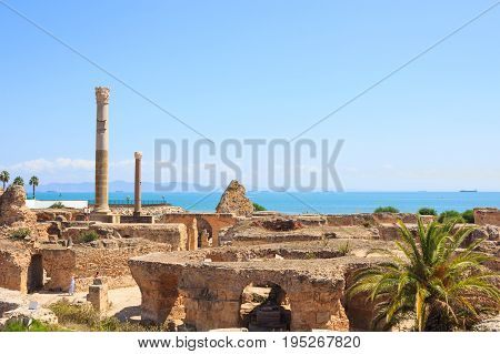 Ancient ruins of Carthage and a view of the Mediterranean Sea, Tunisia