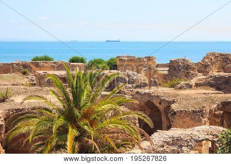 Ancient ruins of Carthage and Mediterranean Sea, Tunisia