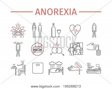 Anorexia. Symptoms, Treatment. Line icons set. Vector signs for web graphics