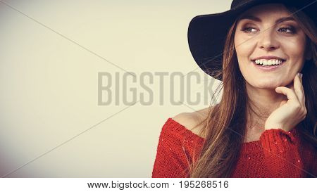 Fashion looks elegance clothing headwear concept. Gorgoeus lady smiling. Young blonde girl wearing elegant hat cheering expressing happiness