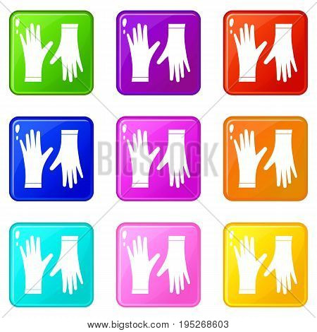 Protective gloves icons of 9 color set isolated vector illustration
