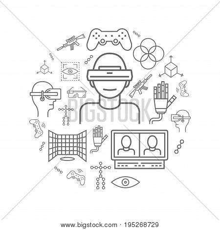 Devices for virtual reality VR . Vector virtual reality concept for banners, flyers, cards, web and mobile applications. AR glasses and head-mounted display.