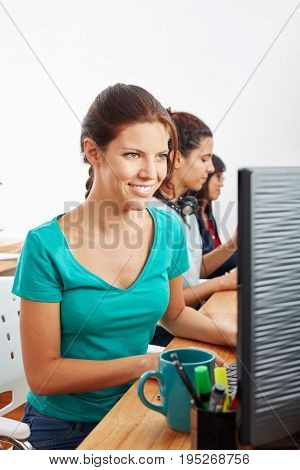 Young woman in call center offering advice and help
