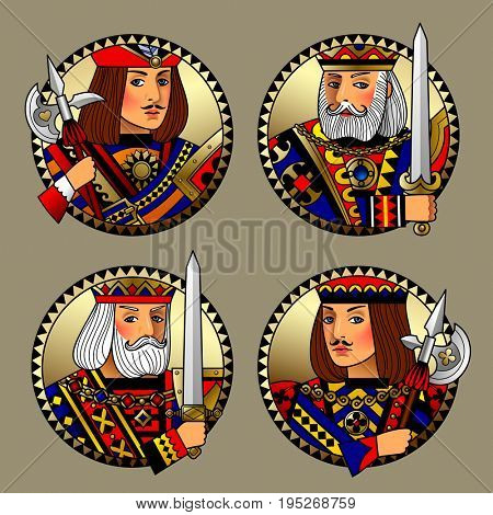 Round shapes with faces of playing cards characters. Original vintage design in gold, red, blue and black colors
