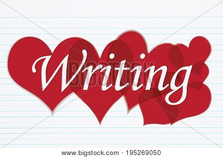 Love to write Retro lined paper with text Writing with red hearts 3D Illustration