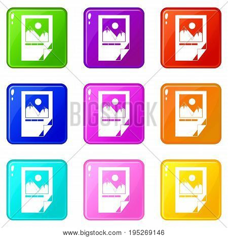 Tested ink paper with printer marks icons of 9 color set isolated vector illustration