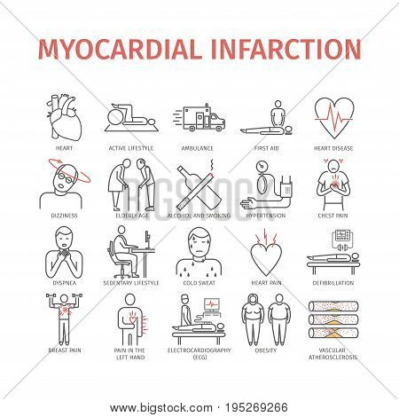 Myocardial infarction line icon. Icons set. Vector signs for web graphics.