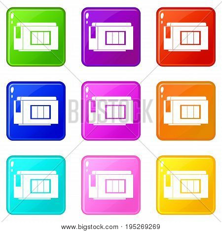 Inkjet printer cartridge icons of 9 color set isolated vector illustration