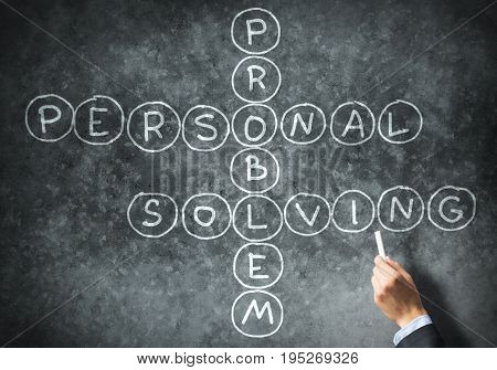 Business concept with crossword drawn with chalk on blackboard