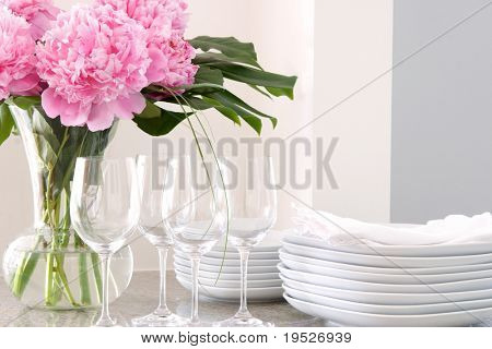wine glasses, flowers, plates & napkins - elegant buffet