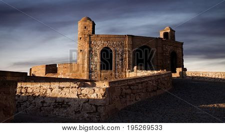 Panorama of Essaouira Fortress Morocco. Essaouira is a city in the western Moroccan economic region of Marrakech Tensift Al Haouz on the Atlantic coast.