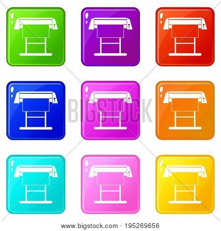 Large format inkjet printer icons of 9 color set isolated vector illustration