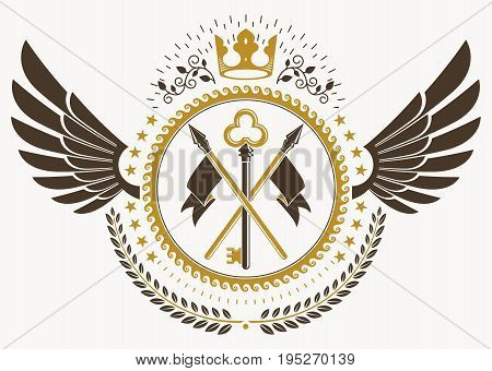 Classy emblem made with bird wings decoration keys and monarch crown symbol. Vector heraldic Coat of Arms.
