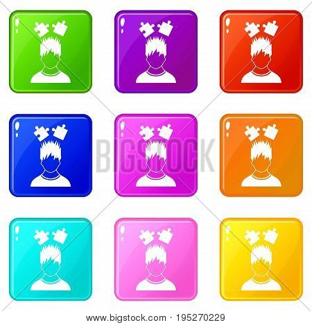 Man with puzzles over head icons of 9 color set isolated vector illustration
