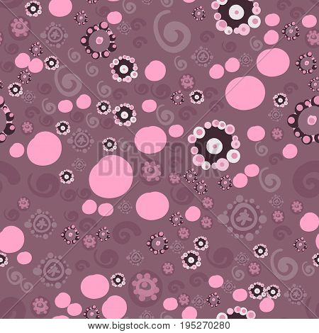 Seamless all-over Vintage Childish Flower Pattern in pastel Violet Ditsy Print.