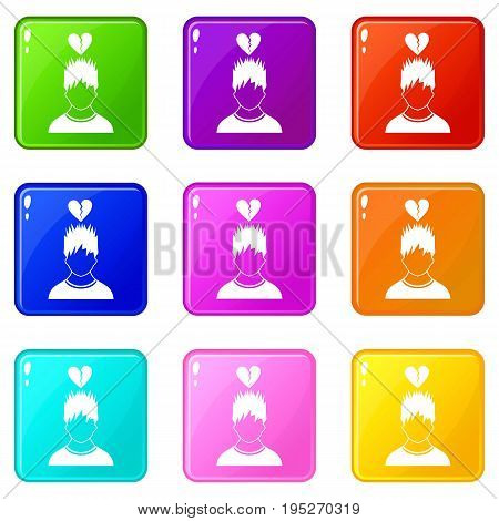 Man with broken red heart over head icons of 9 color set isolated vector illustration