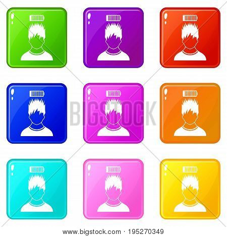 Man with low battery over head icons of 9 color set isolated vector illustration
