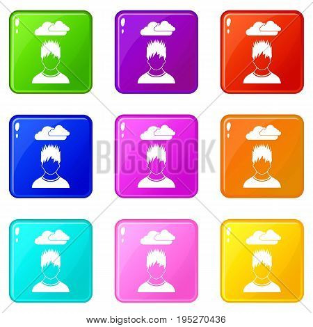 Depressed man with dark cloud over his head icons of 9 color set isolated vector illustration