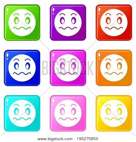 Suspicious emoticons of 9 color set isolated vector illustration