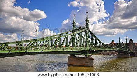 View of the Liberty bridge and Danube river in centre of Budapest city Hungary