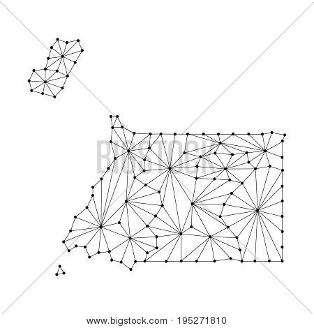 Equatorial Guinea map of polygonal mosaic lines network rays and dots vector illustration.