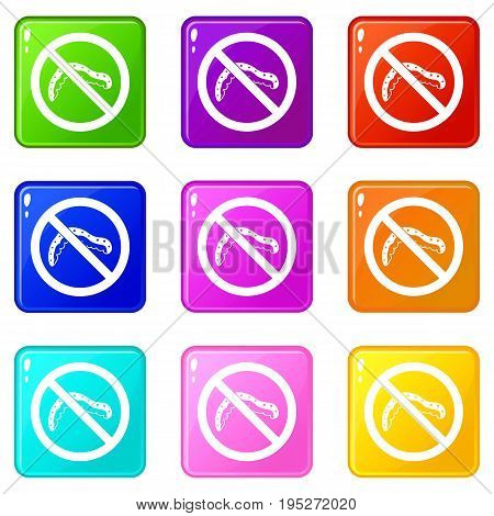 No caterpillar sign icons of 9 color set isolated vector illustration