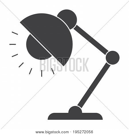 Table lamp icon, reading-lamp or desk-lamp, vector silhouette