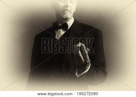 Antique Plate Photo Of Vintage 1920S Businessman In Black Suit Looking At Pocket Watch.