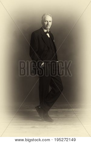 Antique Plate Photo Of Confident Vintage 1920S Businessman In Black Suit With Bow Tie.