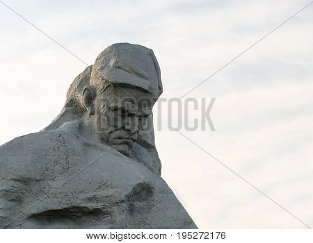 Brest Republic of Belarus - Sculpture Courage central architectural ensemble of famous monument Brest Hero Fortress may 2016