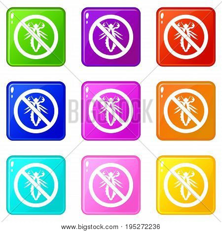 No louse sign icons of 9 color set isolated vector illustration