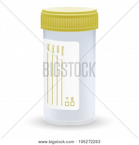 Sterile Plastic Medical Container. Blank Template Of Clear Empty Transparent Jar For Urine Or Liquid For Laboratory Analysis Isolated On A White Background. Realistic Vector Illustration. Medicine