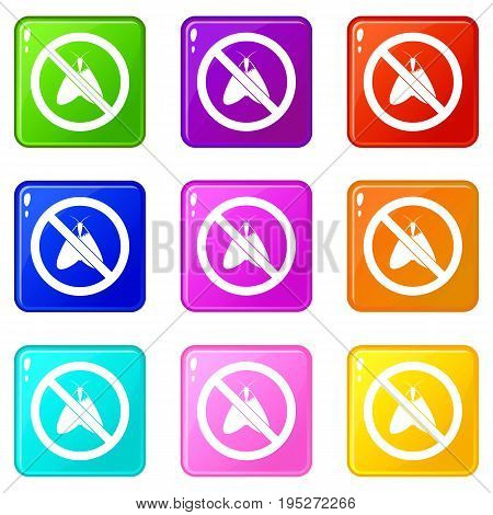 No moth sign icons of 9 color set isolated vector illustration
