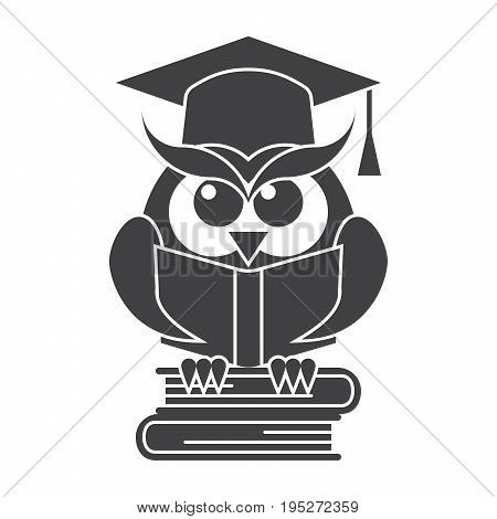 Wisdom concept, owl with books in graduation cap, vector silhouette