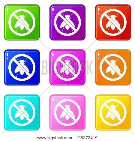 No fly sign icons of 9 color set isolated vector illustration